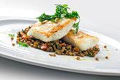 Fish Dish Turbot with crispy lentil Zollino