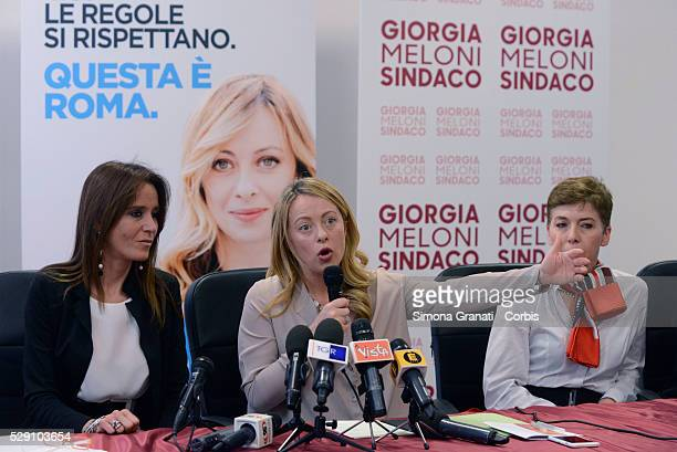 Turchese Baratti Giorgia Meloni and Irene Pivetti attend the presentation of the lists in support of Giorgia Meloni to mayor of Rome at the...