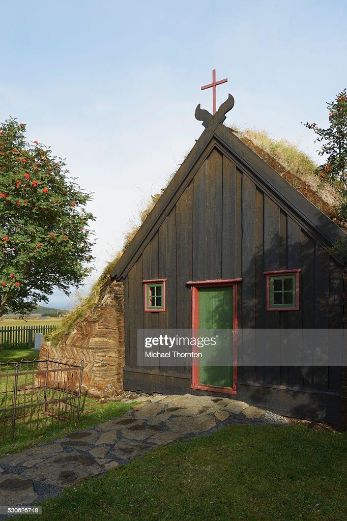 Turf Chapel; Skagafjordur, Vidimyri, Iceland