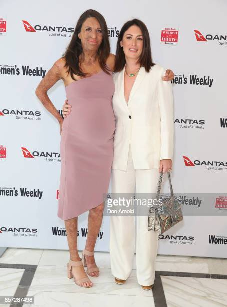 Turia Pitt and Sara LeonardiMcGrath arrives ahead of the annual Women of the Future awards on October 4 2017 in Sydney Australia