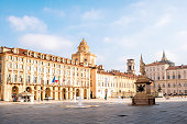 Castle square with saint Lawrence church in Turin in Piedmont region in Italy