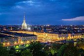 Turin (Torino), high definition panorama with Mole Antonelliana at twilight