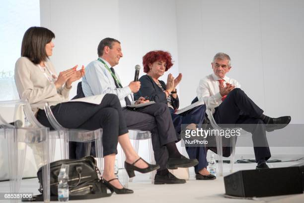 Turin Italy First day at the Book Fair the international book's fair Chiara Appendino mayor of TorinoFrancesco Profumo who was Italy's Minister of...