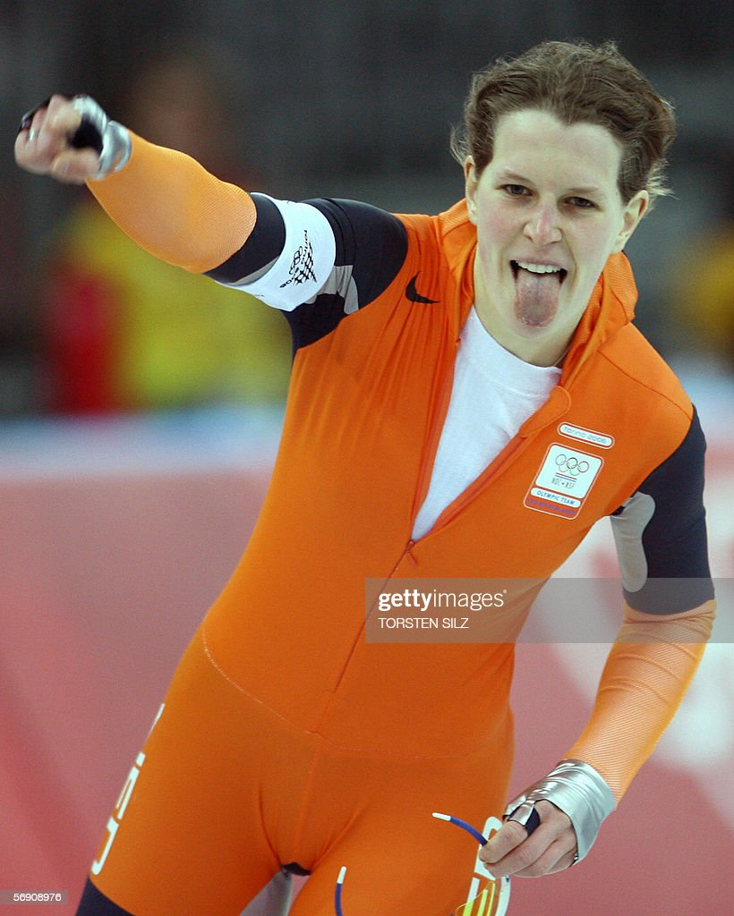 Ireen Wust of The Netherlands reacts after her race in the Ladies 1500M speed skating competition during the 2006 Winter Olympics 22 February 2006, in Turin. Wust captured the bronze medal while Cindy Klassen of Canada won the gold medal and her compatriot Kristina Groves took the silver medal. AFP PHOTO/TORSTEN SILZ