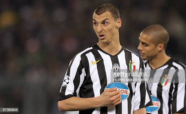 Juventus' forward Zlatan Ibrahimovic of Sweden and teammate David Trezeguet of France react during quarter finals second leg Champions league...