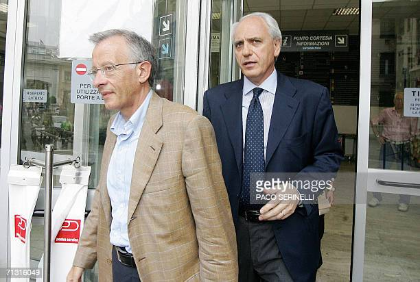 Juventus's doctor Riccardo Agricola and club vicepresident Roberto Bettega leave Molinette Hospital in Turin 28 June 2006 where Juventus's team...