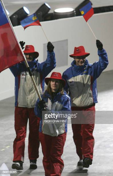 Liechtenstein's delegation arrives during the opening ceremony of the 2006 Winter Olympics 10 February 2006 at the Olympic stadium in Turin Italy The...