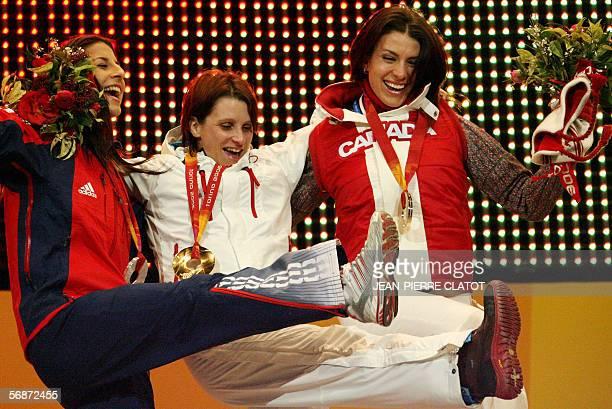 Silver medal winner Shelley Rudman of Great Britain Gold medal winner Maya Pedersen of switzerland and Bronze medal winner Mellisa...