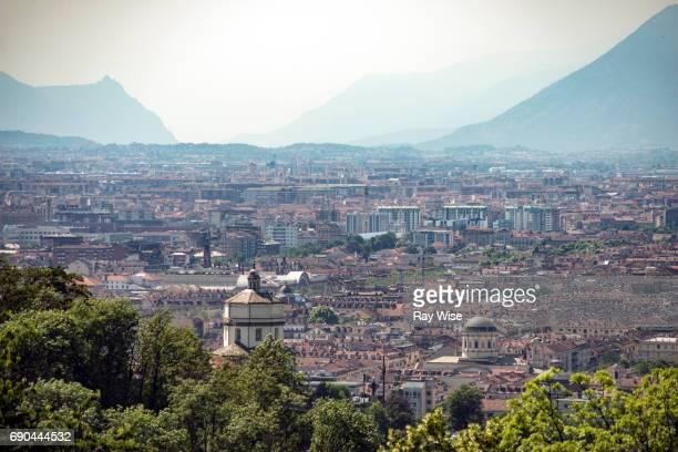 Turin skyline and mountain view.