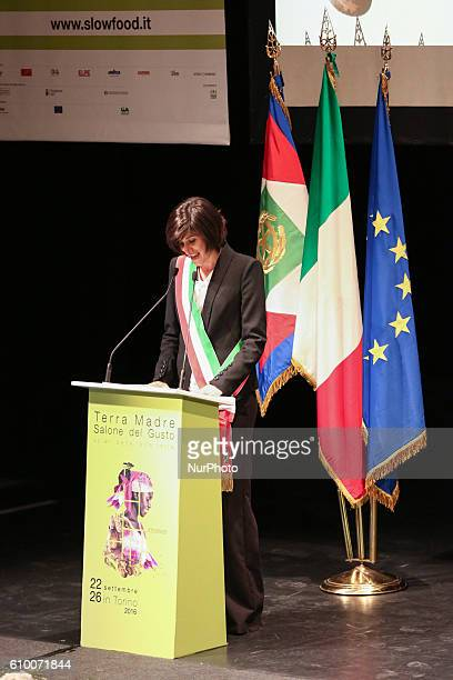 Turin's Mayor Chiara Appendino speaks at the Salone del Gusto and Terra Madre the show dedicated to the food which for the first time let the...