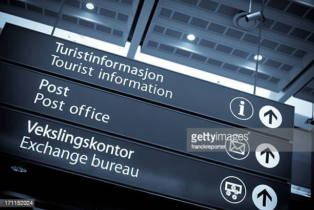 turist information and office signs on central station in oslo