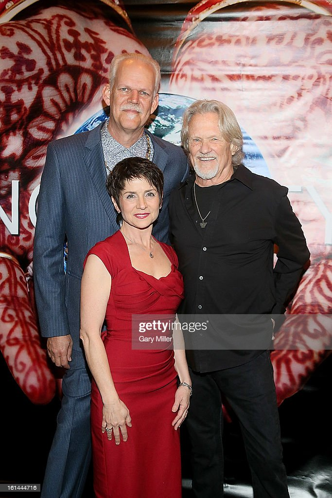 Turk Pipkin, Christy Pipkin and Kris Kristofferson walk the red carpet at the Nobelity Projects Artists and Filmmakers Dinner honoring Kris Kristofferson with the Feed The Peace award at the Four Seasons Hotel on February 10, 2013 in Austin, Texas.