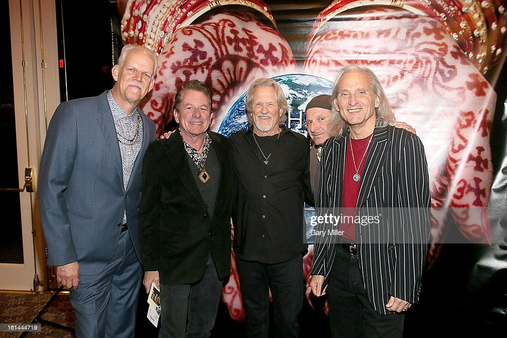 Turk Pipkin, Joe Ely, Kris Kristofferson, Butch Hancock and Jimmie Dale Gilmore walk the red carpet at the Nobelity Projects Artists and Filmmakers Dinner honoring Kris Kristofferson with the Feed The Peace award at the Four Seasons Hotel on February 10, 2013 in Austin, Texas.