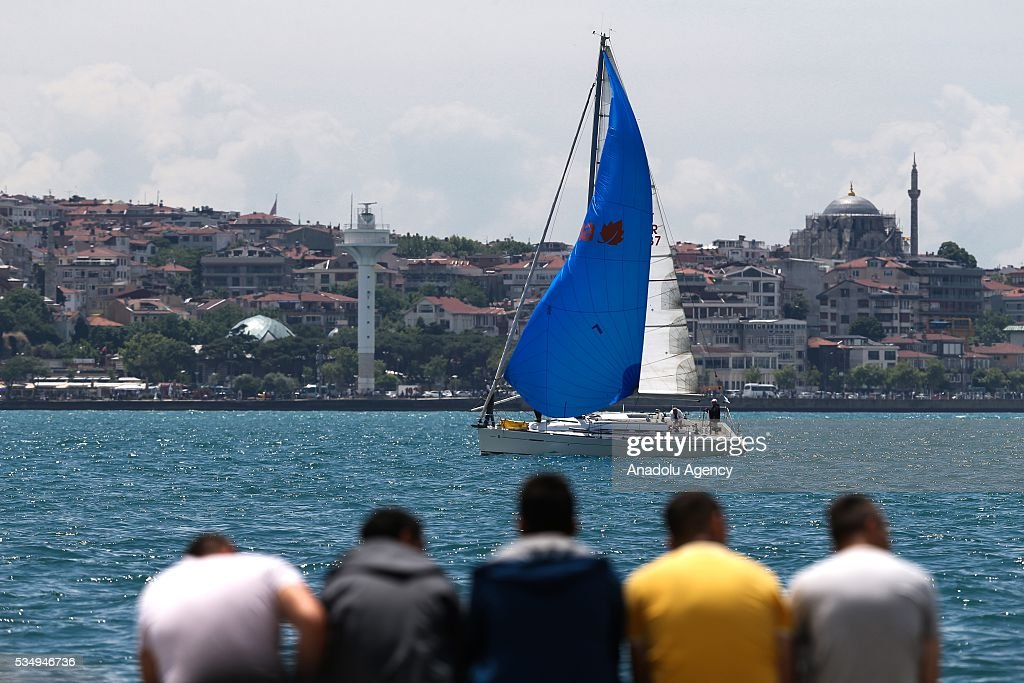 'Turkcell Platinum Bosphorus Cup' sailing race organization is held between Dolmabahce and Tarabya at Istanbul Bosporus in Istanbul, Turkey on May 28, 2016.