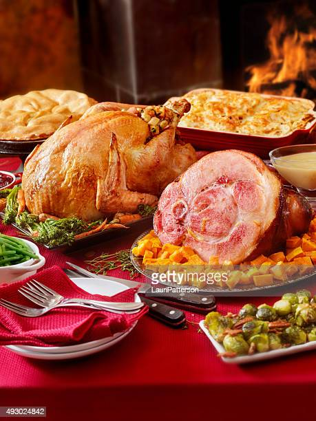 Turkey and Ham Dinner with Stuffing and All the Fixings