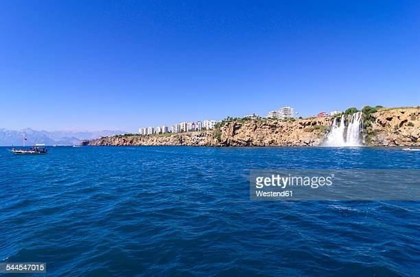Turkey, Antalya, Turkish Riviera, Waterfall at coast