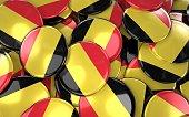Turkey Badges Background - Pile of Belgian Flag Buttons. 3D Rendering
