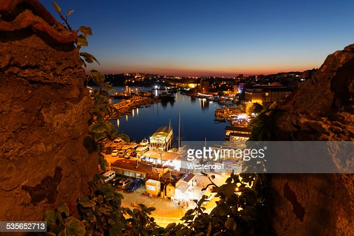 Turkey, Black Sea Region, Sinop Province, Sinop, View from Fortress to Fishing Harbour in the evening light