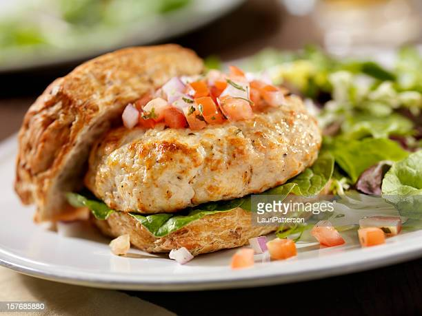 Turkey Burger with Spinach and Salsa