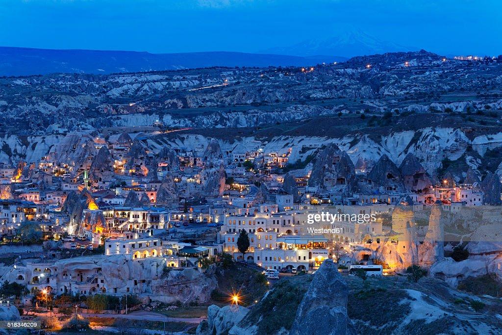 Turkey, Eastern Anatolia, Cappadocia, Goereme National Park, Goereme in the evening