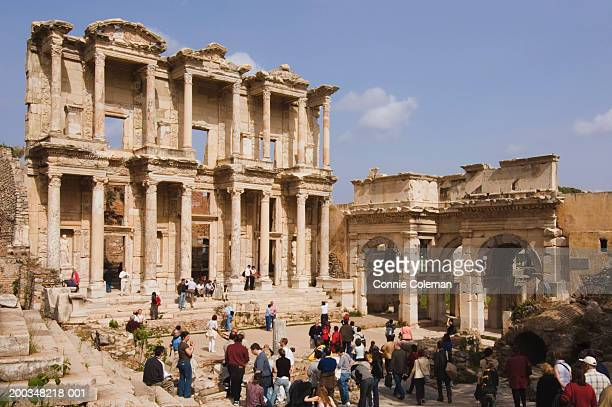 Turkey, Ephesus, Celsian Library with tourist crowd