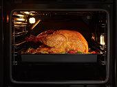 turkey-chicken cooking inside an oven