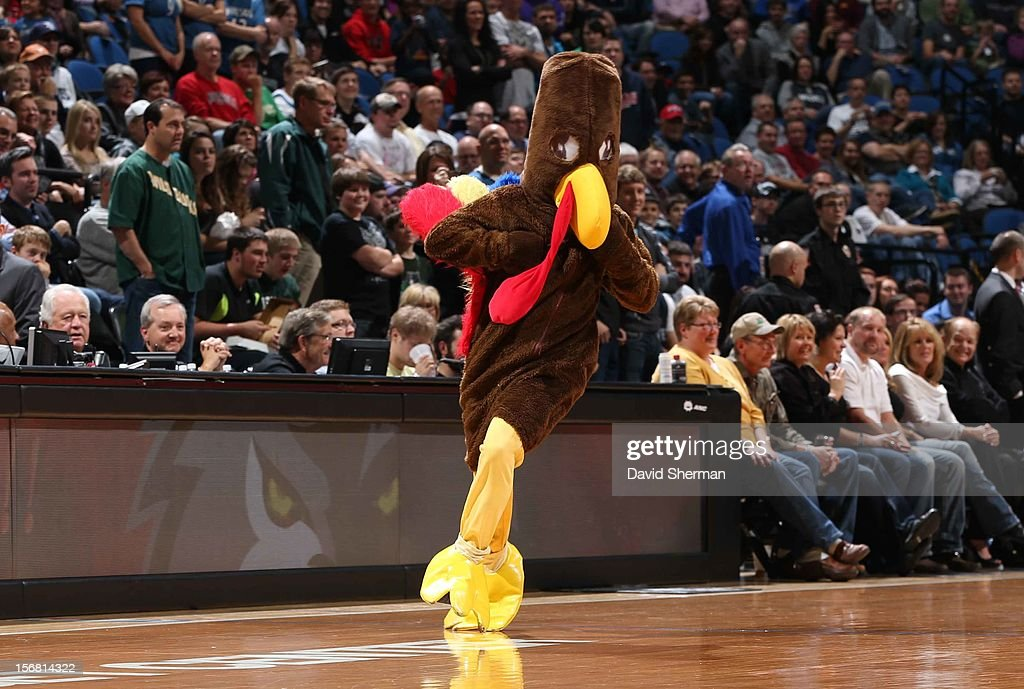 A turkey is seen during the game between the Minnesota Timberwolves and the Denver Nuggets on November 21, 2012 at Target Center in Minneapolis, Minnesota.