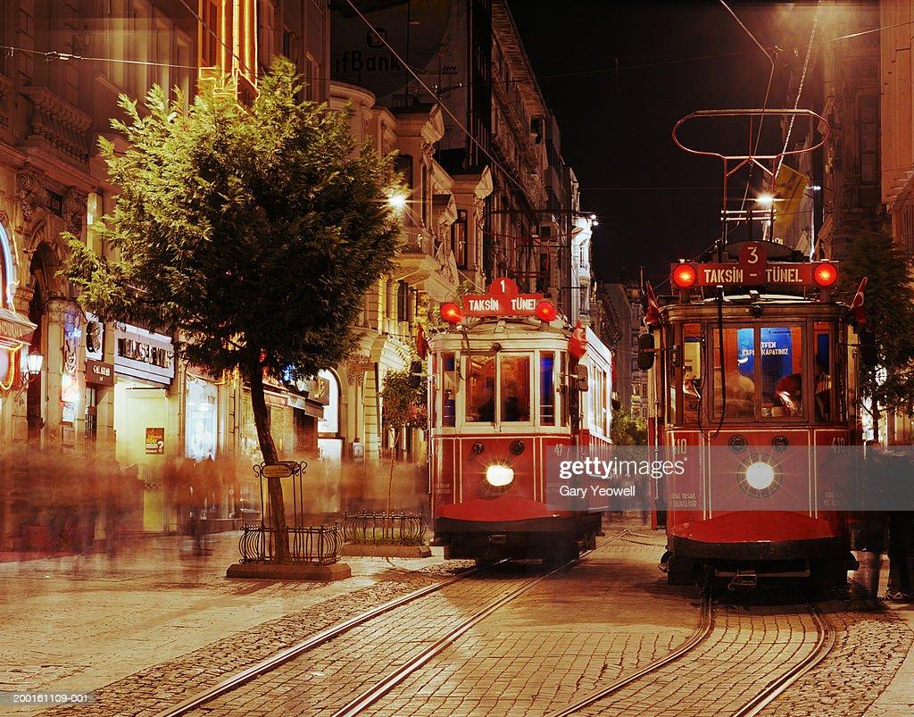 Turkey, Istanbul, Beyoglu, trams in street (long exposure)