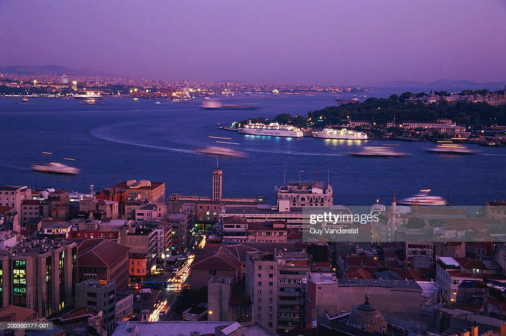 Turkey, Istanbul, Golden horn and cityscape at dusk : Stock Photo