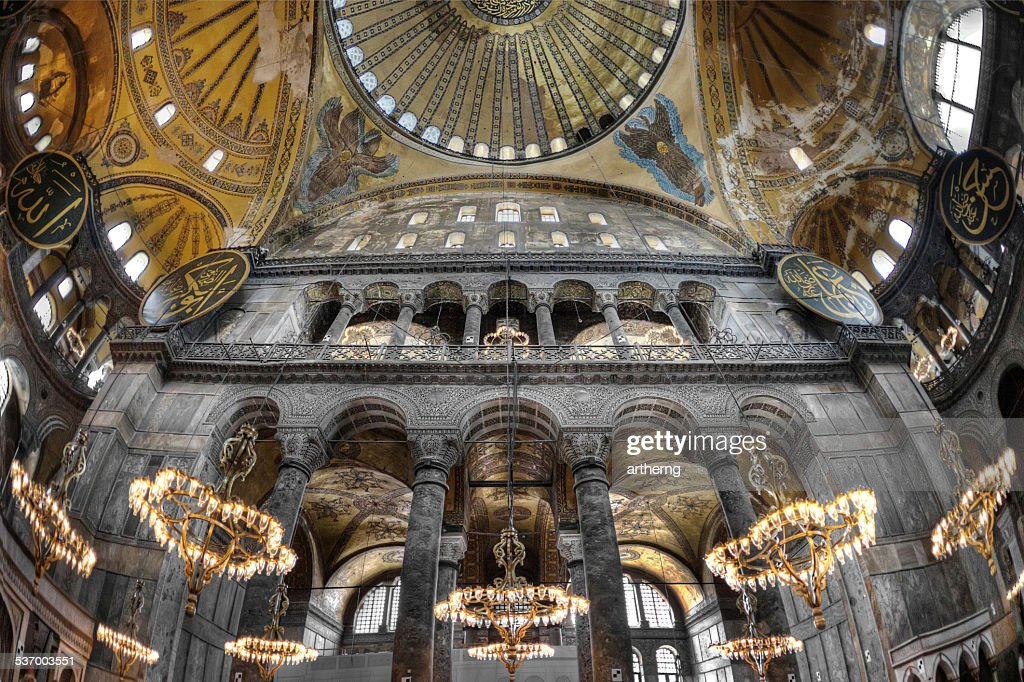 Turkey, Istanbul, Hagia Sophia, Interior of mosque