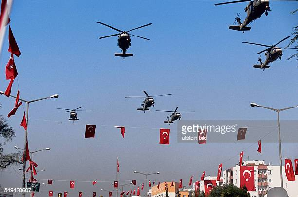 mitliary parade for the 81th anniversary of the Turkey A helicopter echelon