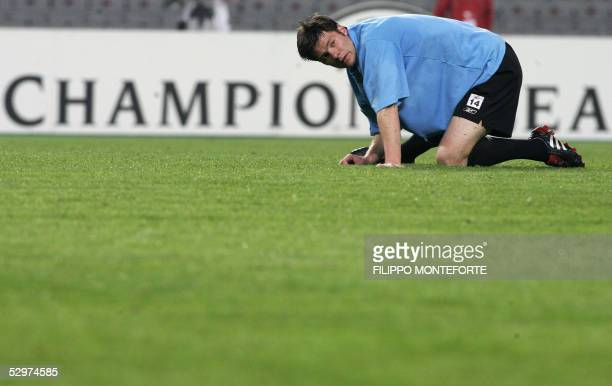 Liverpool's Spanish midfielder Xavi Alonso attends a training session one day before the UEFA Champions League football final match opposing...