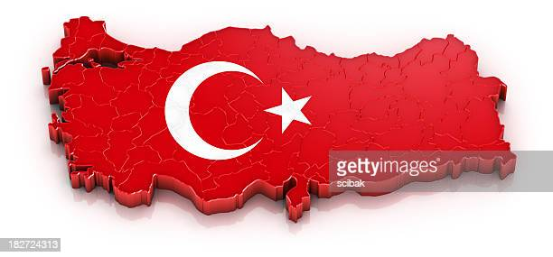 Turkey map with flag