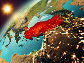 Illustration of Turkey as seen from Earth's orbit during sunset. 3D illustration. Elements of this image furnished by NASA. 3D model of planet created and rendered in Cheetah3D software, 7 Dec 2017.