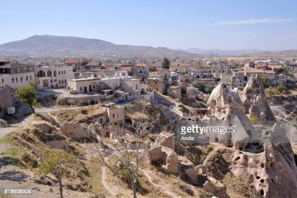 Turkey Uchisar Overview of the troglodyte dwellings of this typical village of Cappadocia region inscribed to the UNESCO World Heritage List