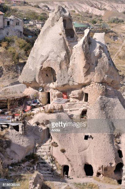 Turkey Uchisar Troglodyte dwellings of this typical village of Cappadocia region inscribed to the UNESCO World Heritage List