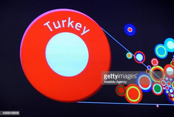 Turkey visual is seen on a giant screen as European Union Commissioner for Enlargement and Neighborhood Stefan Fule announces the latest progress...