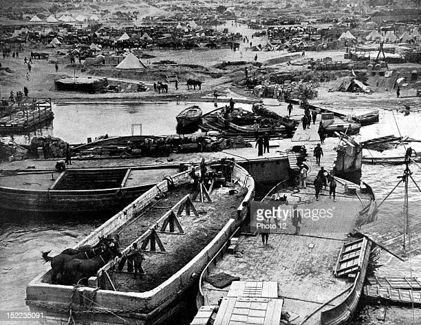 Turkey World War I Dardanelles Campaign The beach and camp at Seddul Bahr seen from the bridge of the 'River Clyde' the British transport that was...