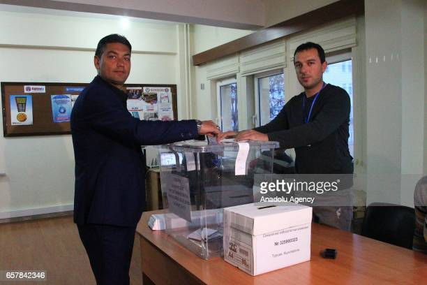 Turkeybased Bulgarian citizen votes during the Bulgarian Parliamentary Election at the The Union of Chambers and Commodity Exchanges of Turkey High...