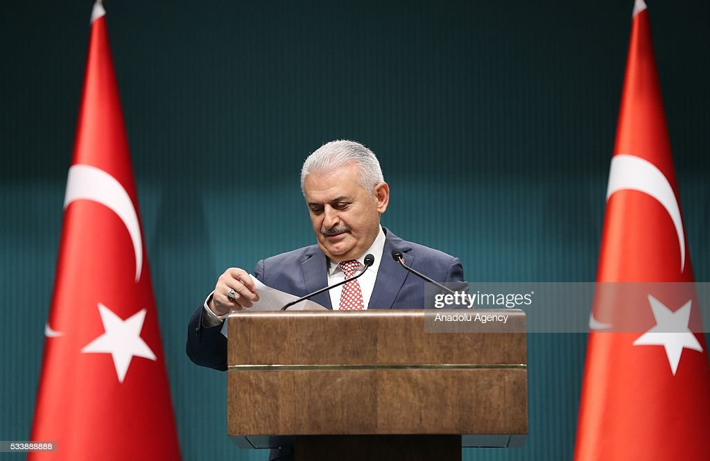 Turkey's AK Party chairman Binali Yildirim announces new cabinet following a meeting with President Recep Tayyip Erdogan in Ankara, Turkey on May 24, 2016.