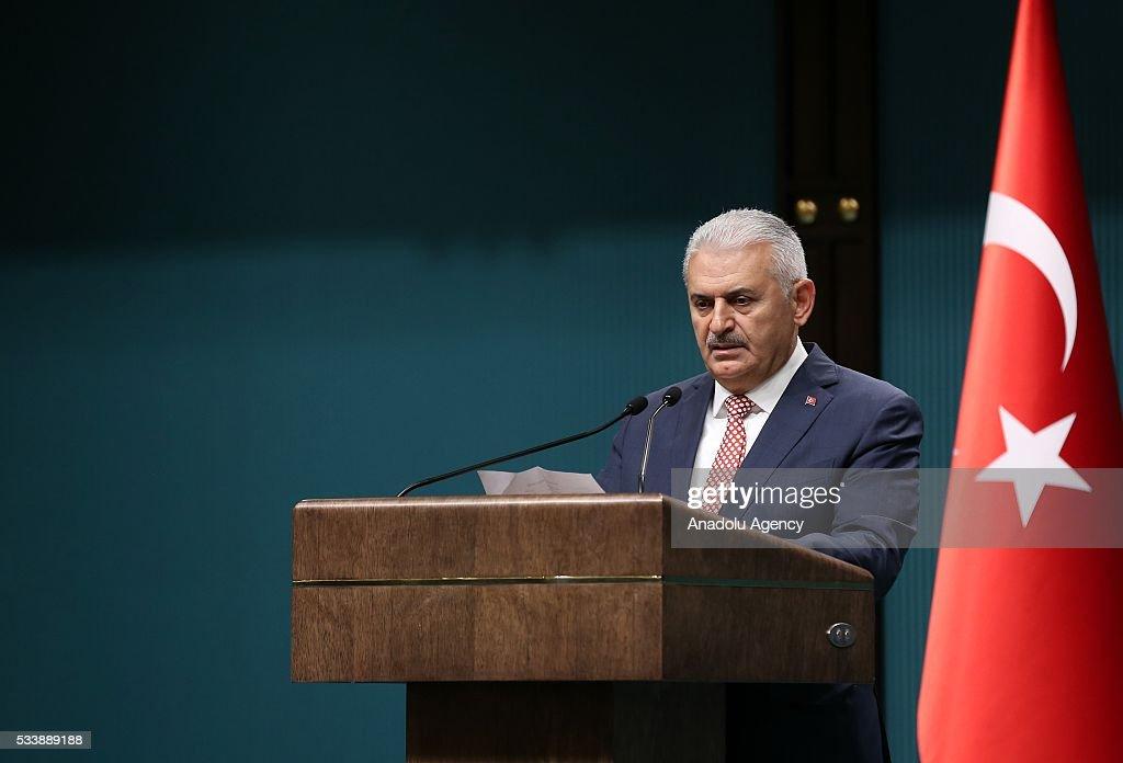 Turkey's AK Party chairman Binali Yildirim announces new cabinet following a meeting with President Recep Tayyip Erdogan in Ankara, Turkey on May 24, 2016.