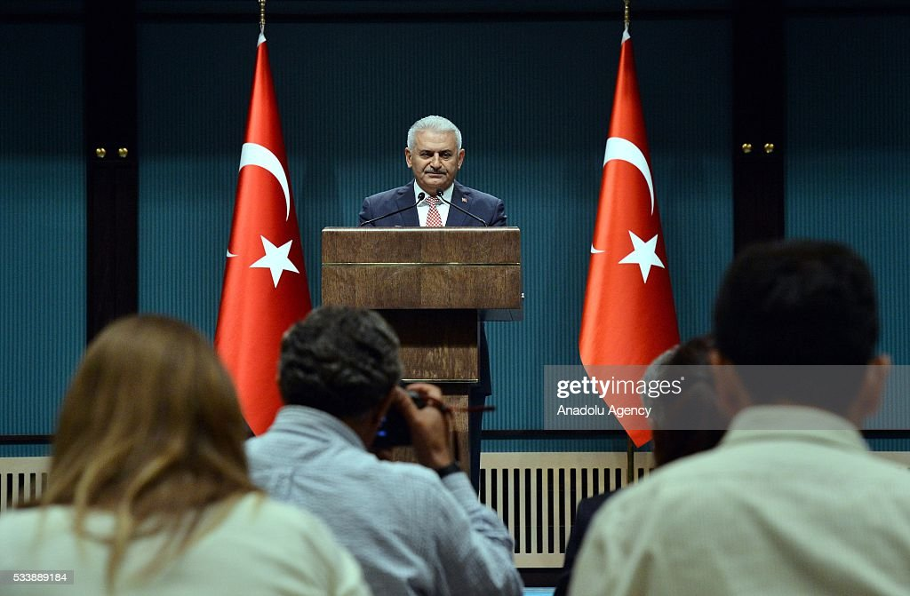 Turkey's AK Party chairman Binali Yildirim announces the new cabinet following a meeting with President Recep Tayyip Erdogan in Ankara, Turkey on May 24, 2016.