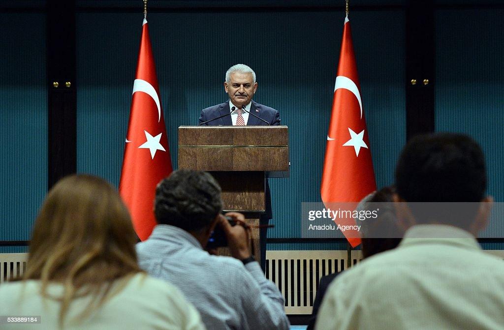 Turkey's AK Party chairman Binali Yildirim announces the new cabinet following a meeting with President Recep Tayyip Erdogan in Ankara, Turkey on May 24, 2016.