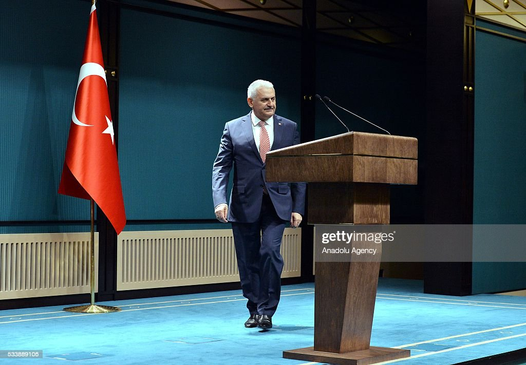 Turkey's AK Party chairman Binali Yildirim arrives to announce the new cabinet following a meeting with President Recep Tayyip Erdogan in Ankara, Turkey on May 24, 2016.