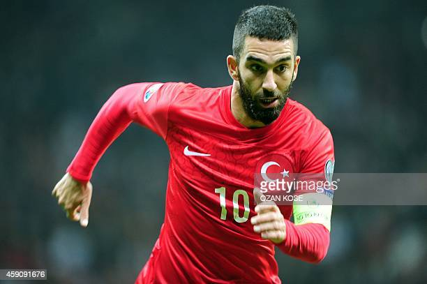 Turkey`s Arda Turan in action during the UEFA Euro 2016 qualifying football match Turkey vs Kazakhstan on November 16 2014 at TT Arena stadium in...