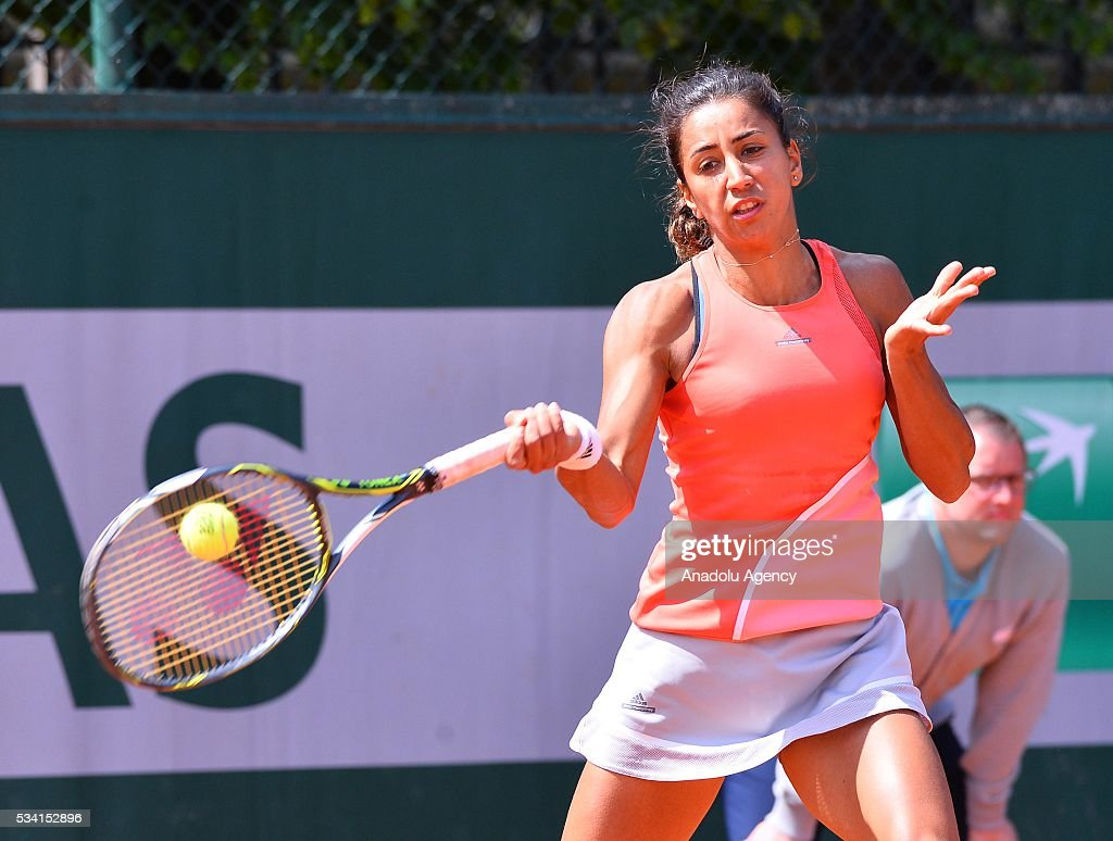 Turkey's Cagla Buyukakcay returns the ball to Anastasia Pavlyuchenkova (not seen) of Russia during their women's single 2nd round match at the French Open tennis tournament at Roland Garros in Paris, France on May 25, 2016.