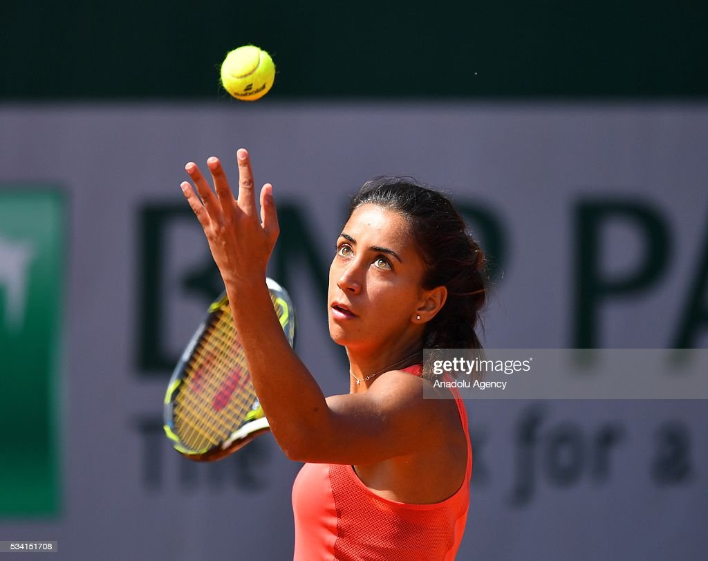 Turkey's Cagla Buyukakcay serves the ball to Anastasia Pavlyuchenkova (not seen) of Russia during the 2nd round match of the French Open tennis tournament at Roland Garros in Paris, France on May 25, 2016.