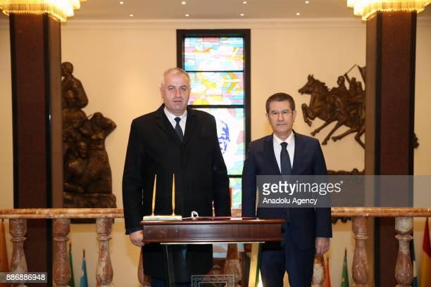Turkey's Defense Minister Nurettin Canikli meets with Minister of Kosovo Security Force Rrustem Berisha in Ankara Turkey on December 06 2017