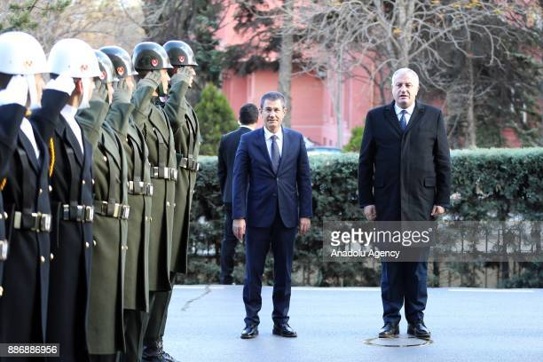 Turkey's Defense Minister Nurettin Canikli welcomes Minister of Kosovo Security Force Rrustem Berisha with a military ceremony ahead of their meeting...