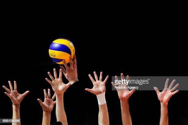 Turkey's Demir Selim smashes the ball during the Men's Volleyball Bronze medal match between Algeria and Turkey on day ten of the Baku 2017 4th...